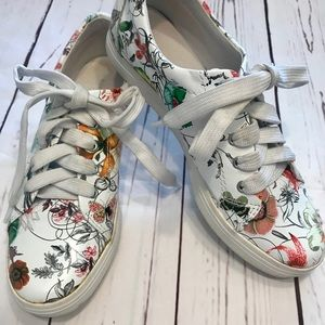Shoes - Super Cute All Black Floral Tennis Shoes